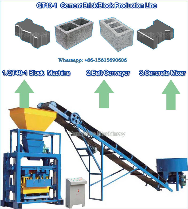 QT40-1 cement semi automatic block making machine(图1)